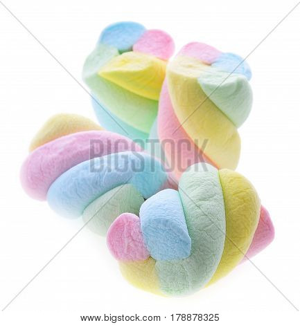 Marshmallows pastel isolated on white background eat, snack, dessert, soft, sugar, fat, candy, fluffy, treat