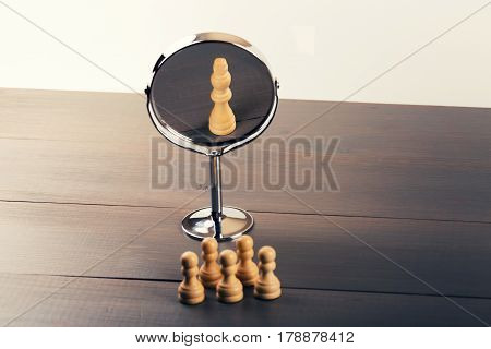 teamwork power and confidence concept - reflection on mirror