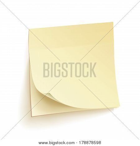 Paper Work Notes Isolated Vector. Blank Sticky Notes. Realistic Illustration