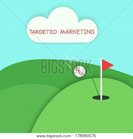 Targeted marketing golf concept. Stock vector illustration of green hills and meadows with a flying white ball and red flag in a hole. Aiming in a game like targeting in business.