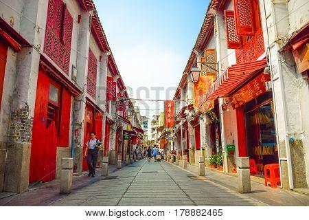 Macau China-September 18 2015: Rua da Felicidade or The Street of Happiness in Macau China
