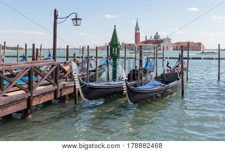 Parking Gondolas Near St. Mark's Square In Venice, Italy.