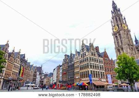 Antwerp Belgium-June 13 2016: Beautiful historical buildings and the Cathedral of Our Lady in the old town of Antwerp