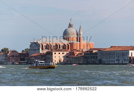 Chiesa Del Santissimo Redentore On Grand Canal In Venice, Italy.