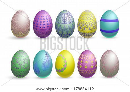 easter eggs on a white background multicolor