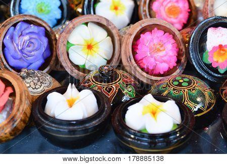 Flower soap carvings on market Art handmade