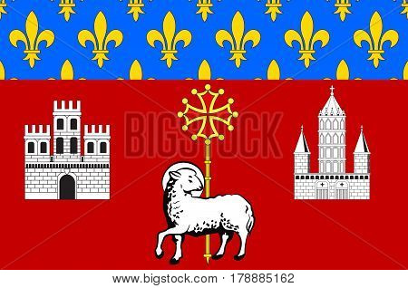 Flag of Toulouse is the capital city of the southwestern French department of Haute-Garonne of Occitanie region. Vector illustration