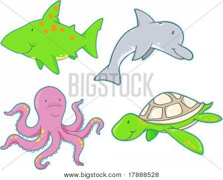 Underwater Creatures Vector Elements