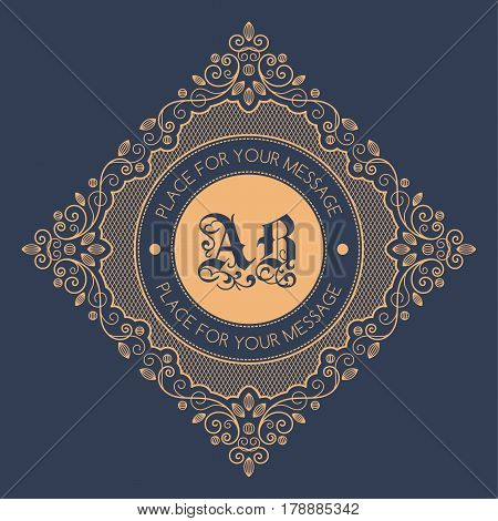 Monogram template with decorative calligraphic ornament frame. Luxury label in retro style. Vector Illustration