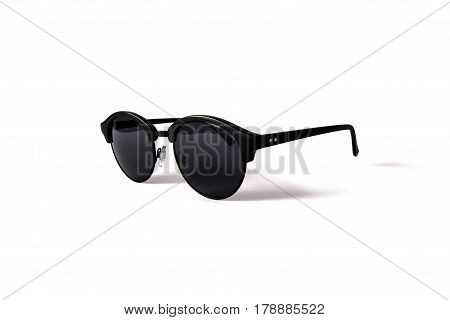 women black round sunglasses isolated on white
