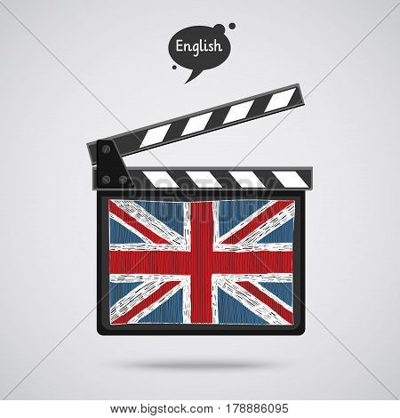 Concept of learning languages. Study English of Britain. Movie production clapper board with hand drawn english flag. Film in English.