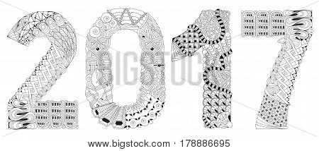 Hand-painted art design. Adult anti-stress coloring page. Black and white hand drawn illustration for coloring book. Number seven zentangle object.