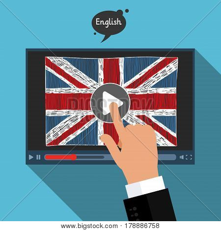 Concept of learning languages. Study English of Britain. Screen with hand drawn english flag. Film in English.