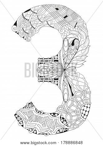 Hand-painted art design. Adult anti-stress coloring page. Black and white hand drawn illustration for coloring book. Number three zentangle object .