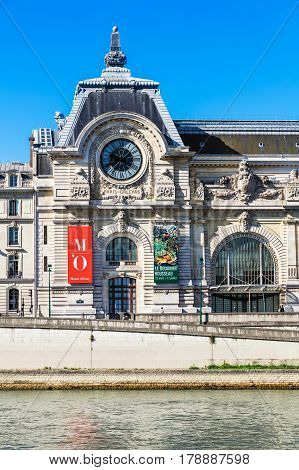Paris France - July 07 2016: The Musee d'Orsay is a museum in Paris on the left bank of the Seine. Musee d'Orsay has the largest collection of impressionist and post-impressionist paintings in the world.