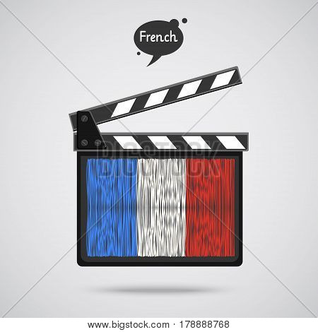 Concept of learning languages. Study French. Movie production clapper board with hand drawn French flag. Film in French.