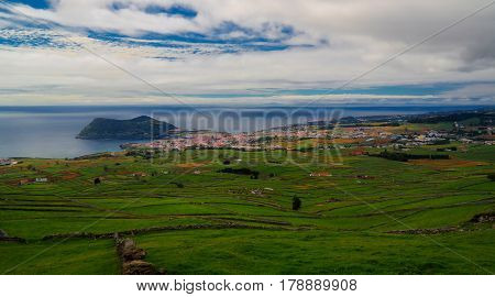 Landscape with Monte Brasil volcano and Angra do Heroismo in Terceira island, Azores, Portugal
