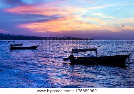 Caribbean sea at sunset shot in Costa Rica (Manzanillo).