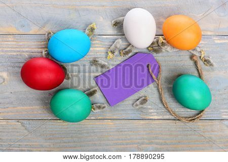 Painted Easter Colorful Eggs With Willow, Osier And Shopping Tag