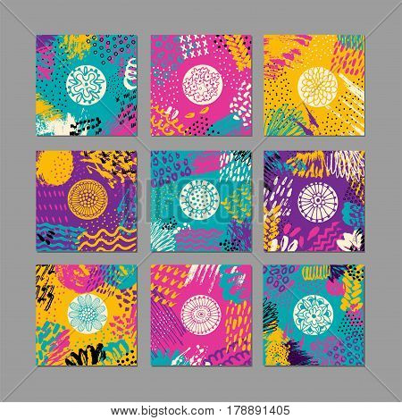 Set of creative card template and flyers. Set of artistic creative universal cards. Hand Drawn textures. Design for poster, flyer. Vector. Isolated.