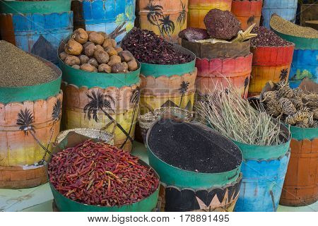 Traditional Spices Market With Herbs And Spices In Aswan, Egypt.