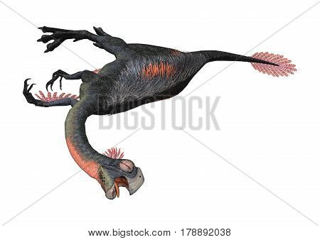 3D Rendering Dinosaur Gigantoraptor On White