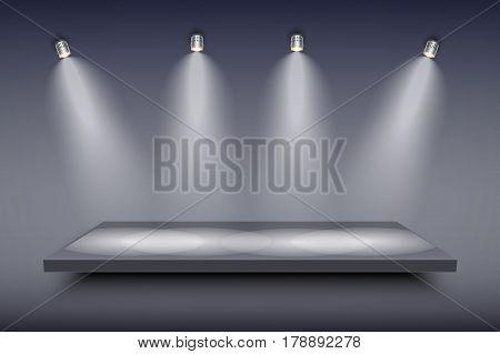 Light box with black presentation platform on dark backdrop with four spotlights. Editable Background Vector illustration.