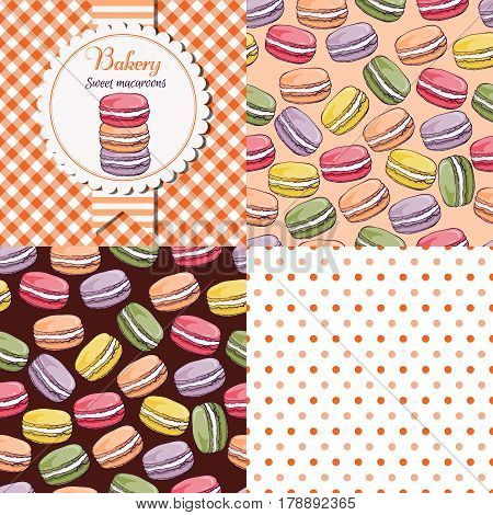 Bakery shop  macaroon collection. Paper label and seamless patterns with Gingham, Polka Dot and Macaroons on dark and light background. Perfect for wallpaper, wrapping paper, textile, package design