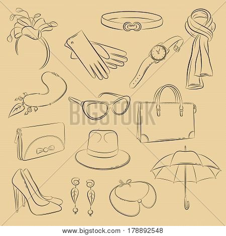 Vector sketch set. Collection of realistic fashionable accessories: scarf bag purse gloves umbrella hoop with flower necklace hat collar wristwatch belt shoes glasses earrings. Illustration in hand drawing style.