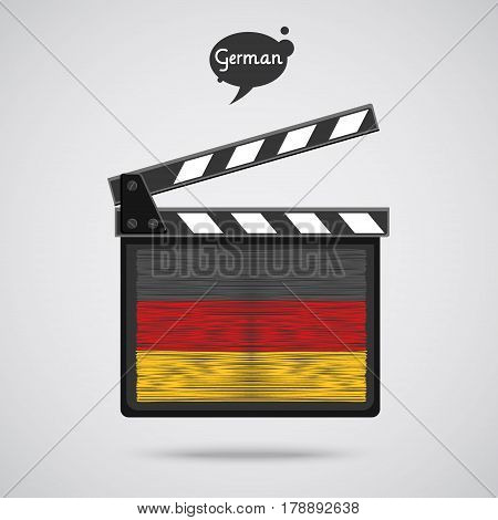 Concept of learning languages. Study German. Movie production clapper board with hand drawn Germanflag. Film in German.