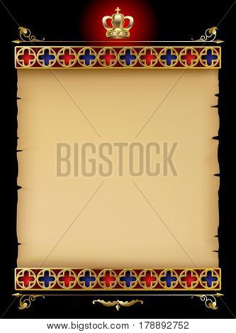 Old parchment with gold gothic ornament and vintage design elements on black