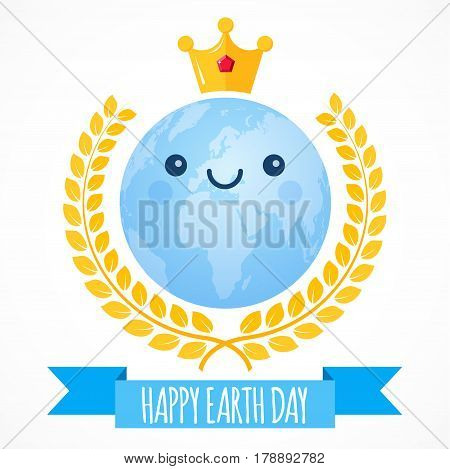 Earth Day vector background. Cartoon globe with golden crown and laurel wreath. Cute cheerful smiling planet. Illustration for April 22 celebration. Support for environmental protection ecology theme