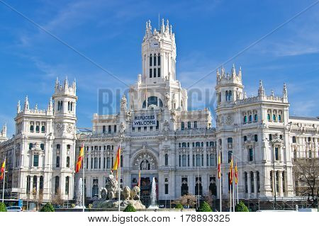 The Cybele Palace (Palacio de Cibeles) on Cybele square (Plaza de Cibeles) in Madrid Spain