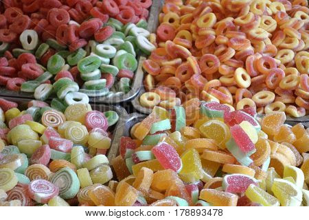 Soft and chewy sugar candies in various colors, and with various fruit flavors