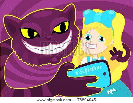 Selfie time. Girl taking selfie with cat. The concept illustration of a cheerful blond girl Alice taking a selfie with a purple big cheshire cat. Vector illustration on purple background