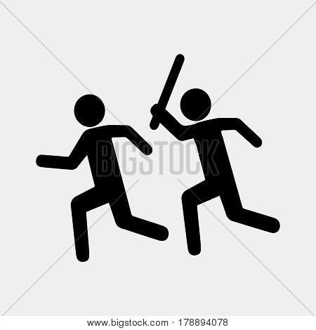 Sign stop violence. One symbolically man runs after another with a stick for the purpose of attack. Flat design. Suitable for print or sticker. Vector illustration isolated from background