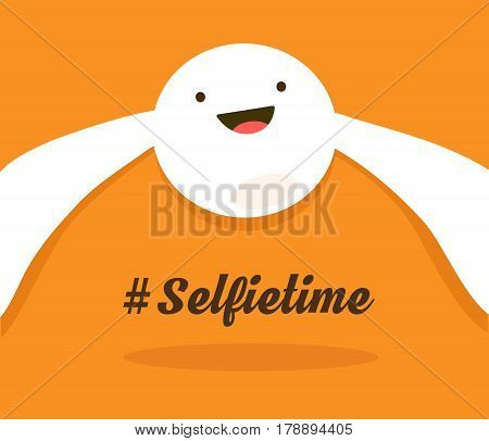 The cheerful face taking selfie. The white colored joyful face taking a selfie, vector illustration.
