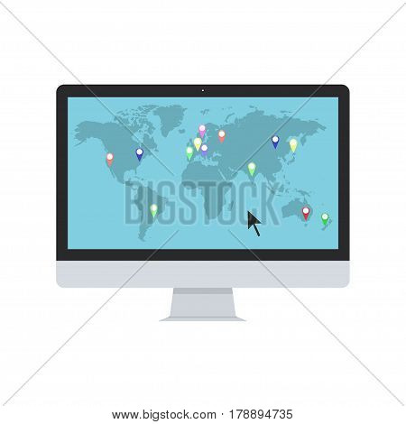 World map with map pointers on the PC monitor. Vector illustration.