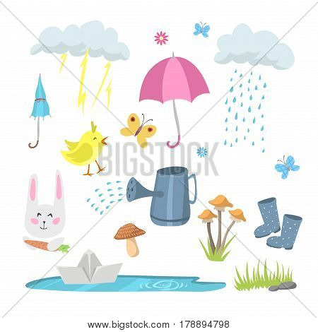Spring natural floral symbols with blossom gardening tools beauty design and nature grass season branch springtime hand drawn elements vector illustration. Birds and animals outdoor concept.