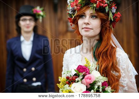 Close-up Of Happy Young Wedding Couple
