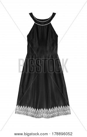 Black vintage halter cotton dress on white background