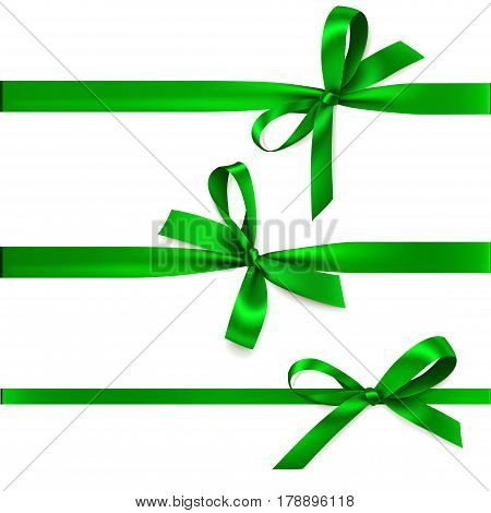 3 green ribbons with bows isolted on white