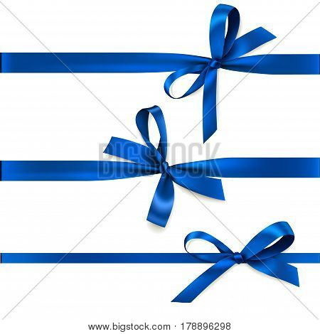 Blue horizontal ribbon with bow isolated on white