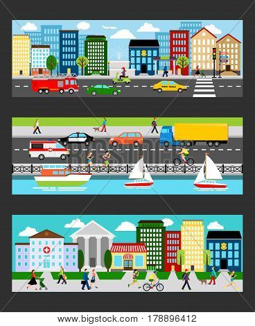 Modern cityscape set in industrial megapolis banners vector illustration. City street panorama with people, buildings and transport