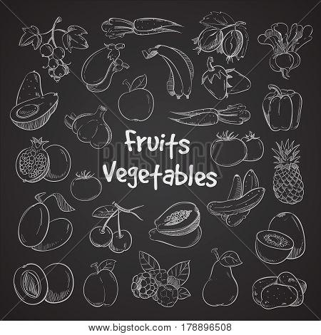 Health food doodle vegetables and fruits hand drawn veggie food meal. Fresh natural food sketch illustration