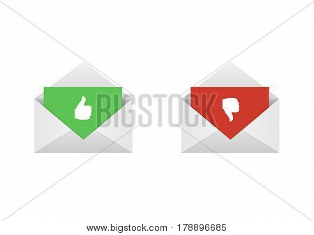 Approved and rejected. Envelopes with red and green letters, thumb up and thumb down symbols Like and dislike labels