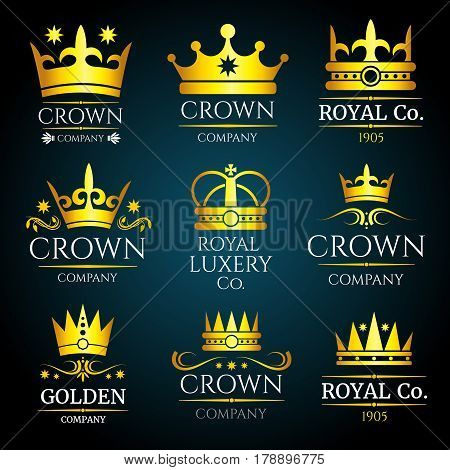 Luxury crown vector vintage monogram, logos set for boutique and jewellery. Collection of design label with crown for luxury company illustration