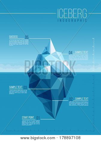 Iceberg and under water antarctic ocean vector infographic template. Business metaphor polar iceberg infographic illustration