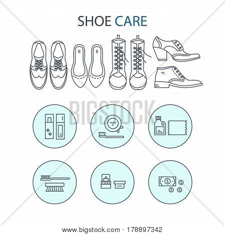 Vector icons collections with different type of shoes and  shoe care equipment. Elements for Shoe Shine service. Outline icon for shoe care in trendy linear style.