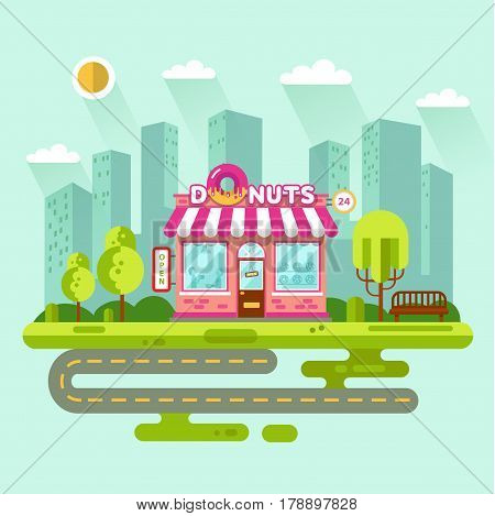 Vector flat design illustration of City landscape with donuts shop or restaurant building, street with road, bench, trees. Signboard with big tasty donut. People eating in the restaurant.